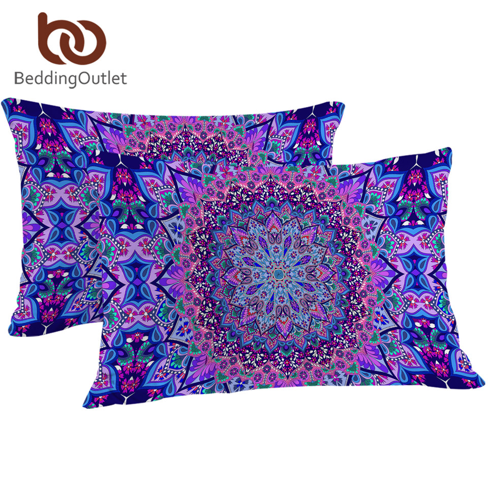 BeddingOutlet 1 Piece Pink Purple Glowing Mandala Pillowcase Bohemia Floral <font><b>Pillow</b></font> Cover Microfiber <font><b>Pillow</b></font> <font><b>Case</b></font> 50x75cm <font><b>50x90cm</b></font> image