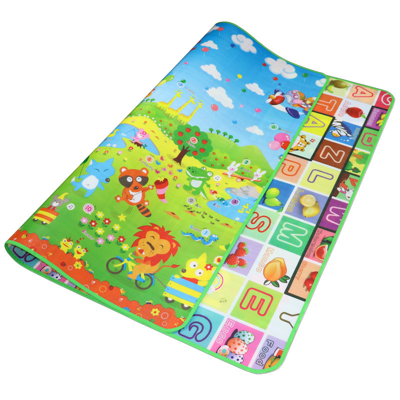 Baby Crawling Play Mat 200*180*0.5cm Double Surface Educational Alphabet Animal Rug Children Waterproof Carpet Developing Pad #S