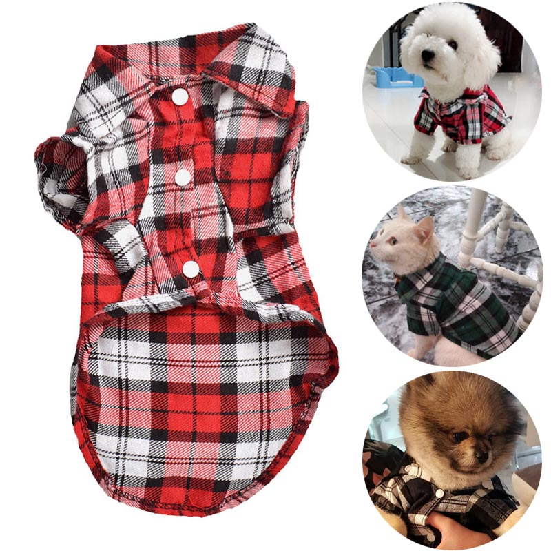 Модные рубашки для домашних животных, летняя Классическая клетчатая одежда для домашних животных, одежда для маленьких собак, французского...