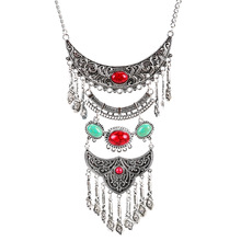 Vintage Bohemian Ethnic Women Multi Layer Coin Tassel Pendant Collar Turquoise Stone Necklace Earrings Womens Costume Jewelry stylish faux turquoise coin long tassel necklace for women