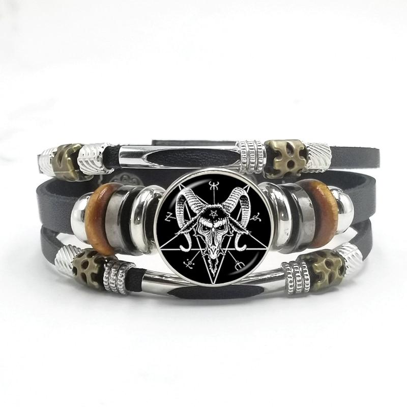 Купить готический браслет с пентаграммой злой дьявол таинственный пентаграмма