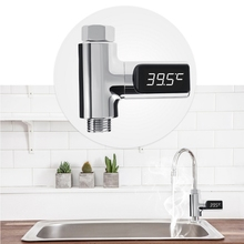цена на 360 Degrees LED Display Celsius Water Temperature Meter Monitor Electricity Shower Thermometer Rotation Flow Self-Generating