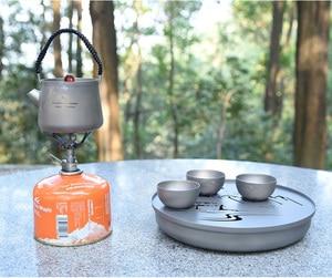 Image 5 - Boundless Voyage Landscape Painting Tea Sets Titanium Tea Tray Titanium Tea kettle Travel Home Office Cup 230ml 800ml Tea Kettle