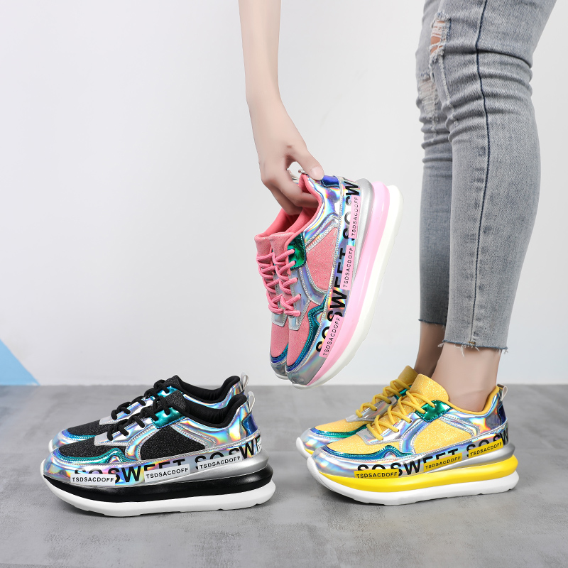 Liren 2019 Summer Fashion Casual Women Vulcanize Shoes Mixed-colors Sneakers New Air Mesh