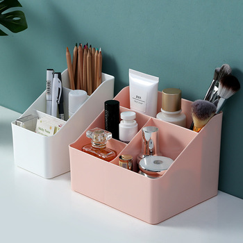 WBBOOMING Plastic Desktop Sundries Storage Makeup Organizer Cosmetic Makeup Brush Storage Case Home Office Bathroom Storage Box 4