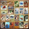 Модель самолета, металлическая вывеска, винтажный постер для девочек, американский, французский, темно-синий, самолет, настенная живопись, п...