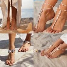 Женские богемные ножные браслеты miss jq летние с жемчужными