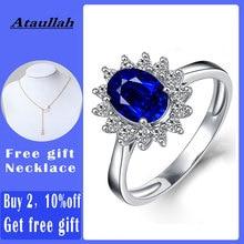 Ataullah 王女ダイアナウィリアムケイトブルーサファイア指輪シルバー 925 リング宝石婚約ファインジュエリー女性のため RW089