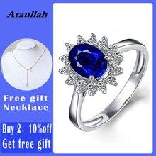 Ataullah נסיכת דיאנה ויליאם קייט כחול ספיר טבעות כסף 925 טבעת חן אירוסין תכשיטים לאישה RW089