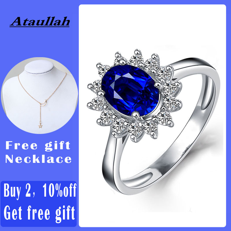 Ataullah Princess Diana William Kate Blue Sapphire Rings Silver 925 Ring Gemstone Engagement Fine Jewelry For Woman RW089