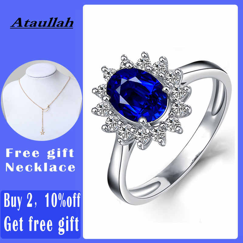 Ataullah Princess Diana William Kate Blue Sapphire Rings Silver 925 Ring Gemstone Engagement Fine Jewelry For Woman Rw089 Aliexpress