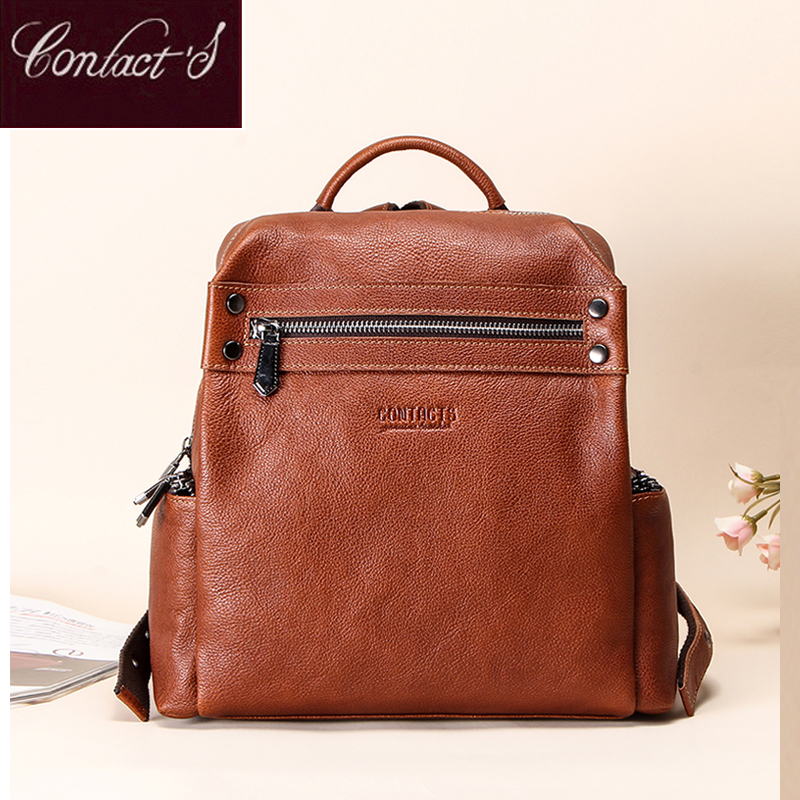 Contact's Retro Small Backpack Women Genuine Leather Rucksack Women's Knapsack Travel Backpacks Shoulder School Bags Mochila