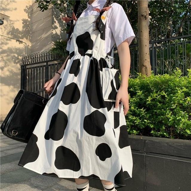 QWEEK Women's Kawaii Cow Print Dress Lolita Milk Cute Sundress Japanese Harajuku Style Cute Kawaii Lolita Dress Outfit Mori Girl 3