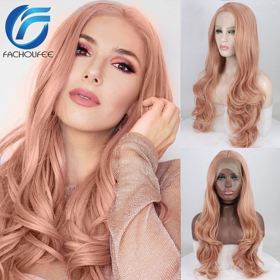 FACHOUFEE Rose Pink Synthetic Hair Wigs With Natural Hairline Long Body Wave Glueless Lace Front Wigs With Middle Part