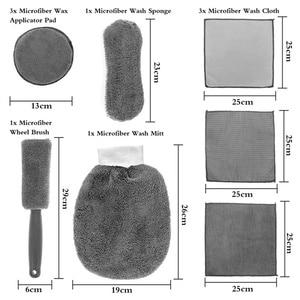 Image 5 - 9 Stks/set Auto Cleaning Tools Microfiber Handdoek Autoband Borstel Zachte Absorptie Handschoen Detaillering Auto Motorfiets Washer Care Set