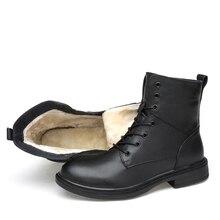 2019 الشتاء الرجال حذاء من الجلد الطبيعي جلد البقر الفاخرة المطاط عالية الجودة اليدوية الدافئة الرجال الشتاء الأحذية # HLDNL9958