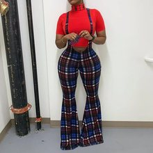 Fashion Women Plaid Overalls Boot Cut Office Lady Elegant Retro Flare trousers Casual Casual Street Harajuku Long Pants Jumpsuit retro cut out plaid fit and flare dress