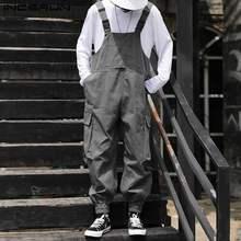 INCERUN – combinaisons pour hommes, couleur unie, ample, Streetwear, mode, bavoir, pantalons multi-poches, au-dessus, 2021, salopette Cargo 5XL
