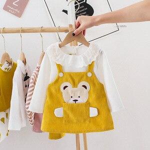 Весенне-осенняя одежда для новорожденных девочек с рисунком медведя платье с длинными рукавами, костюм для первого дня рождения комплект милых платьев принцессы