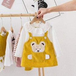 Bebê infantil meninas vestido dos desenhos animados urso bolso veludo vestido primavera outono 1 2 3 anos de idade crianças criança roupas criança tutu vestido