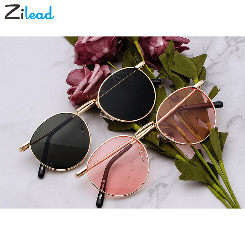 Zilead Fashion Clear Lens Metal Frame Sunglasses Retro Woman Yellow Red Male Sun Glasses Round Gold UV400 Birthday Gift Items