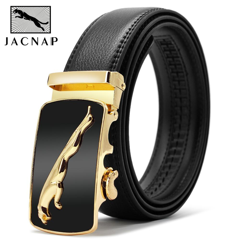 JACNAIP High Quality Male Genuine Leather Belts Luxury Automatic Buckle Black Belts Cow Leather Belts For Men 3.5cm Width