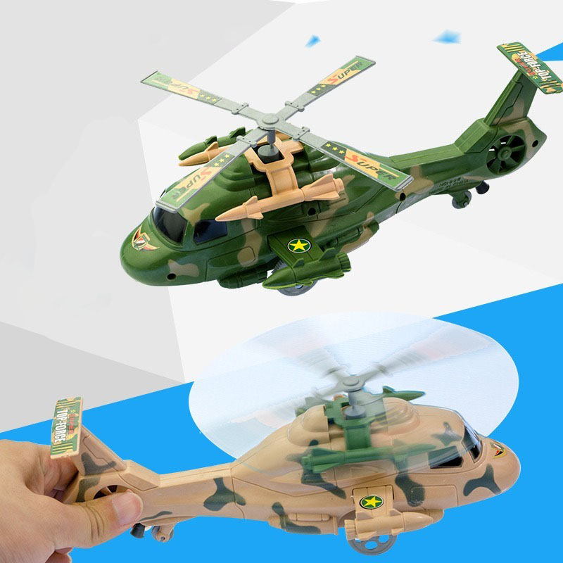 1Pcs Classic Fashion Helicopter Model Rope Wind Up Toys Simulated Appearance Camouflage Aircraft Children Entertainment Toys