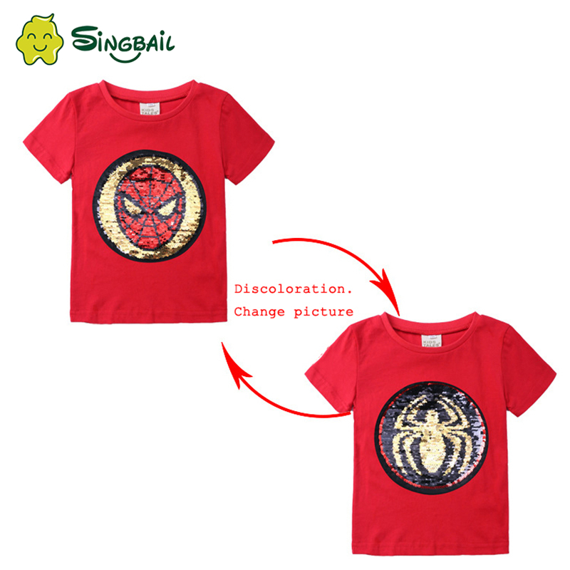 Changing Color And Pattern Spiderman Switchable Sequins Boys TShirts Kid Fashion Marvel Hero T Shirt Children Top Clothes Summer