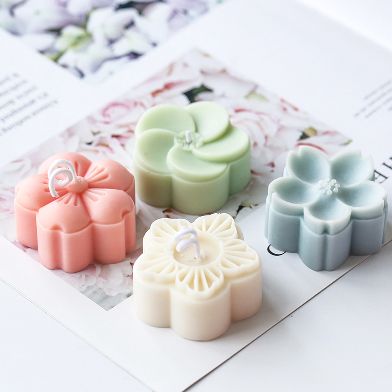 New Four Holes 3D Flower Wax Candle Mold Gypsum Plaster Craft Silicone Mould Sakura Flowers Mini Candle Soap Molds