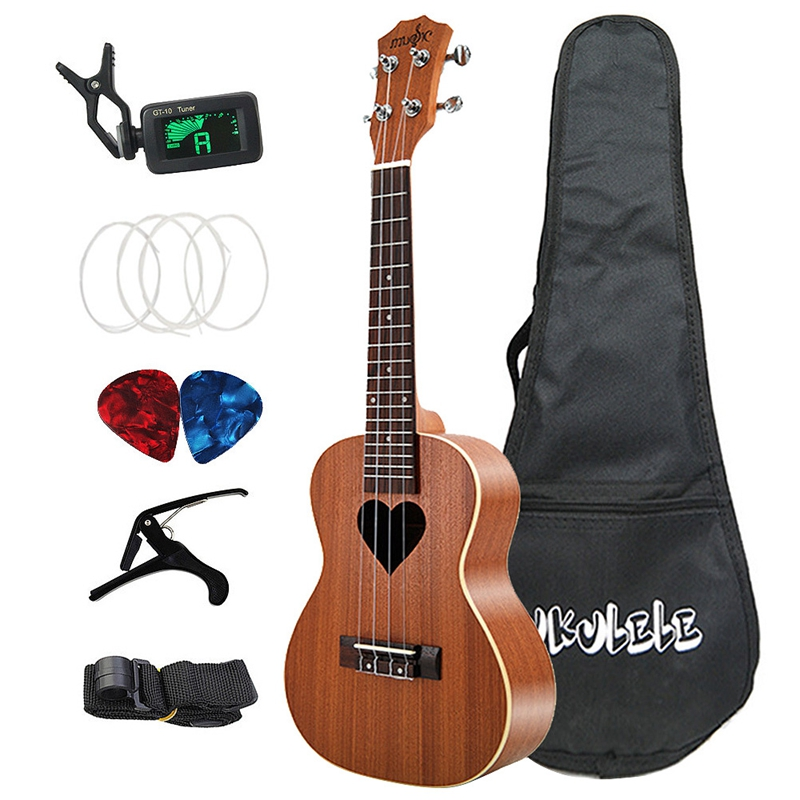 New Concert Ukulele Kits 23 Inch 4 Strings Hawaiian Mini Sapele Guitar With Bag Tuner Capo Strap Stings Picks Musical Instrument