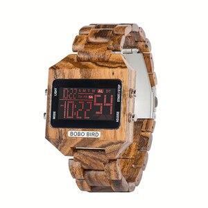 Image 2 - Часы наручные BOBO BIRD мужские электронные, многофункциональные светодиодные брендовые цветные цифровые с деревянным ремешком, с бамбуковой коробкой, с отображением даты