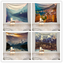 Beautiful City Mountain Tapestry Wall Hanging Lake Wall Cloth Tapestry  Wall Carpet For Home Decor hanging mountains boat lake wall tapestry