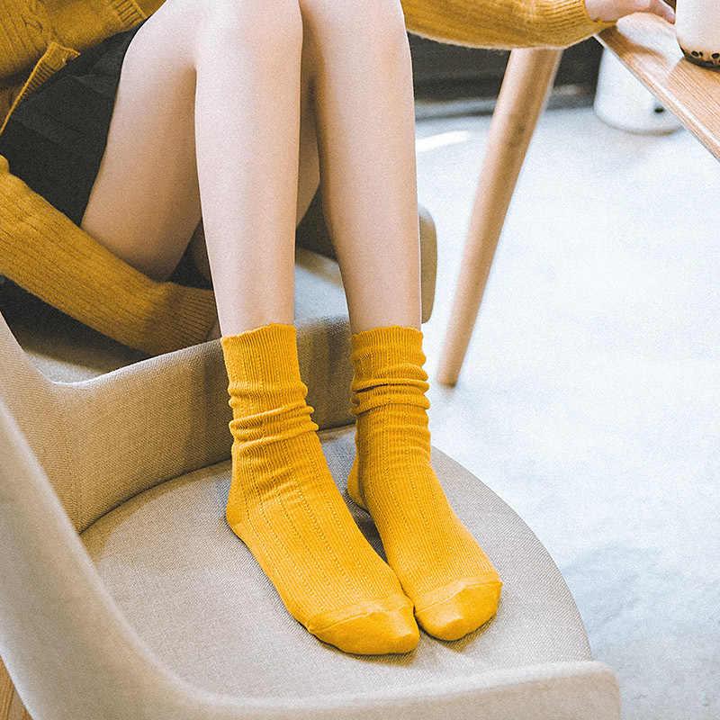 ファッション女性の靴下の色フリル女性靴下綿 2019 秋のトレンド通気性の簡単な弾性長かわいい綿の靴下の女性