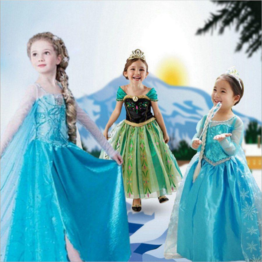 Girls elsa dress Costumes for kids snow queen Movie cosplay dresses princess anna Dress children party dresses fantasia vestidos on AliExpress