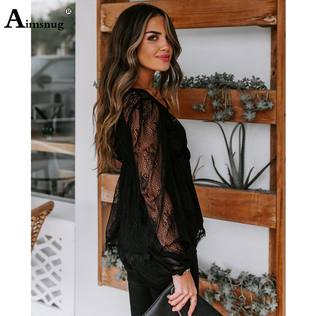 Aimsnug Deep V-neck Women Elegant Shirt Transparent Blouse Top Summer Bow Tie Prairie Chic Lace Shirt Blusas Women Clothing 2020 5
