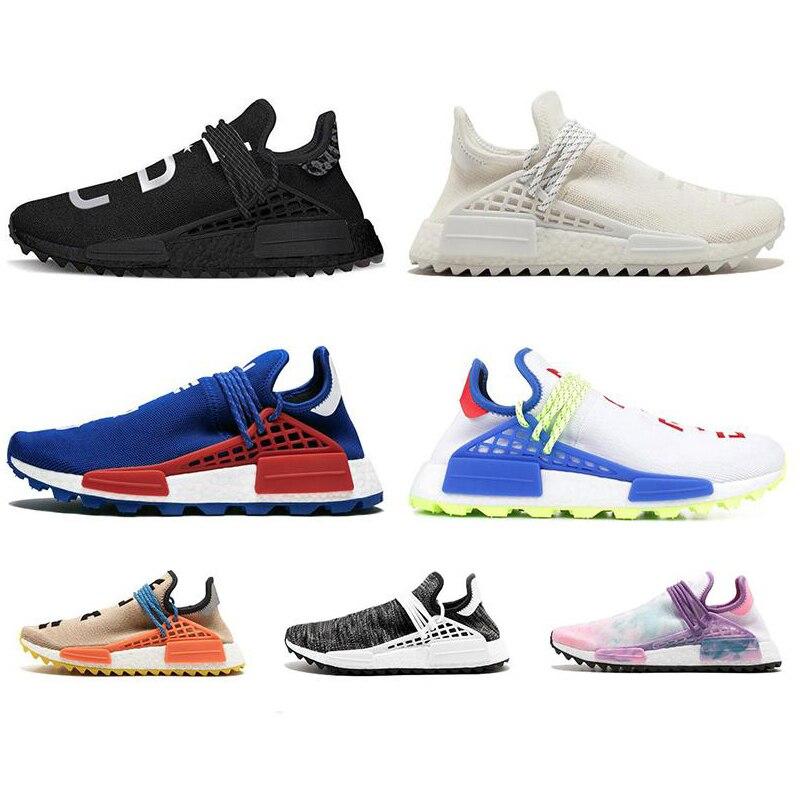 AQLOAC Human Race Hu Trail Pharrell Williams Men Running Shoes Nerd Black Blue Women Mens Trainers Fashion Sports Runner Sneaker