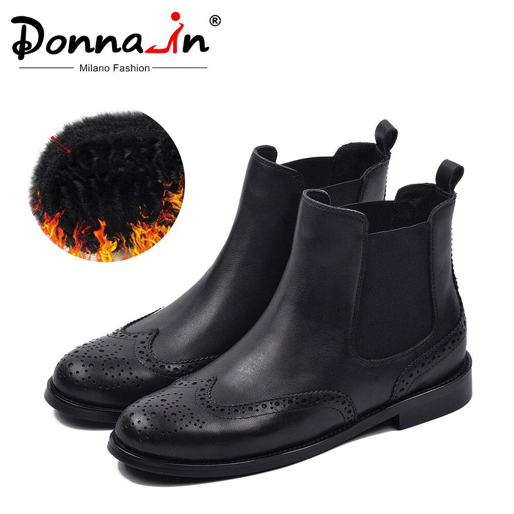 Donna-in automne hiver Chelsea bottes pour femmes en cuir véritable courte en peluche bas Med carré bottines sans lacet bout rond chaussures