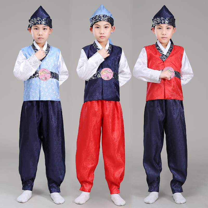 New Traditional Korean Clothing Suit Boys Stage Performance Costume Hanbok Dress Full Sleeve Minority Dance Costumes SL1546