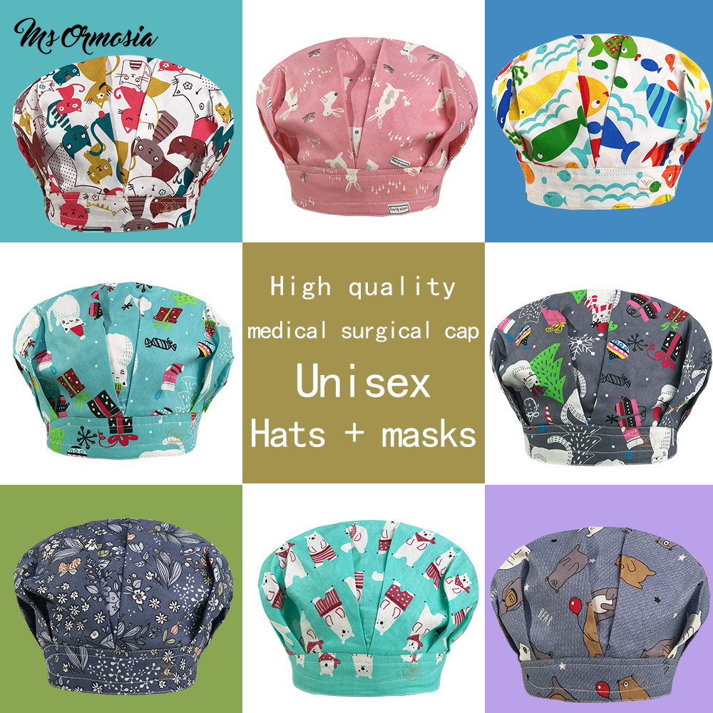 New Printing Cotton Operating Room Hats Medical Surgical Hat For Long Hair Pet Doctor Nurse Work Hat Dental Clinic Nursing Caps