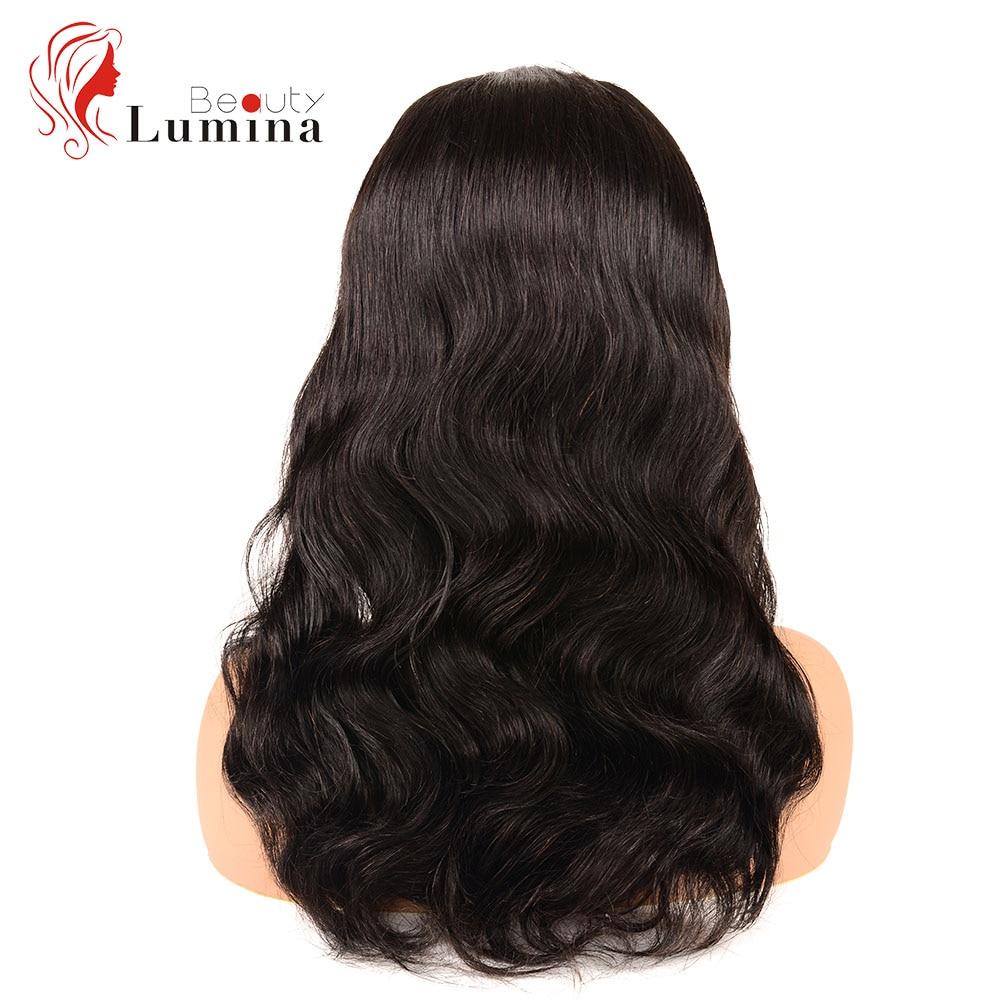 Beauté Lumina pré plumé naturel 30 pouces malaisien cheveux humains perruques vague de corps 4X4 dentelle perruques pour les femmes noires Remy cheveux humains perruques - 4