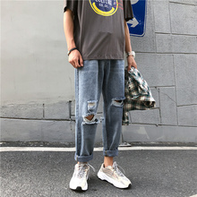 купить Autumn New Hole Jeans Men Fashion Wash Solid Color Casual Straight Denim Trousers Man Streetwear Loose Hip Hop Jean Pants Men дешево