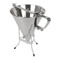 SZS Hot 1.75L Big Stainless Steel Funnel Octopus Balls Tools with Rack Baking Dispenser Cooking Tools
