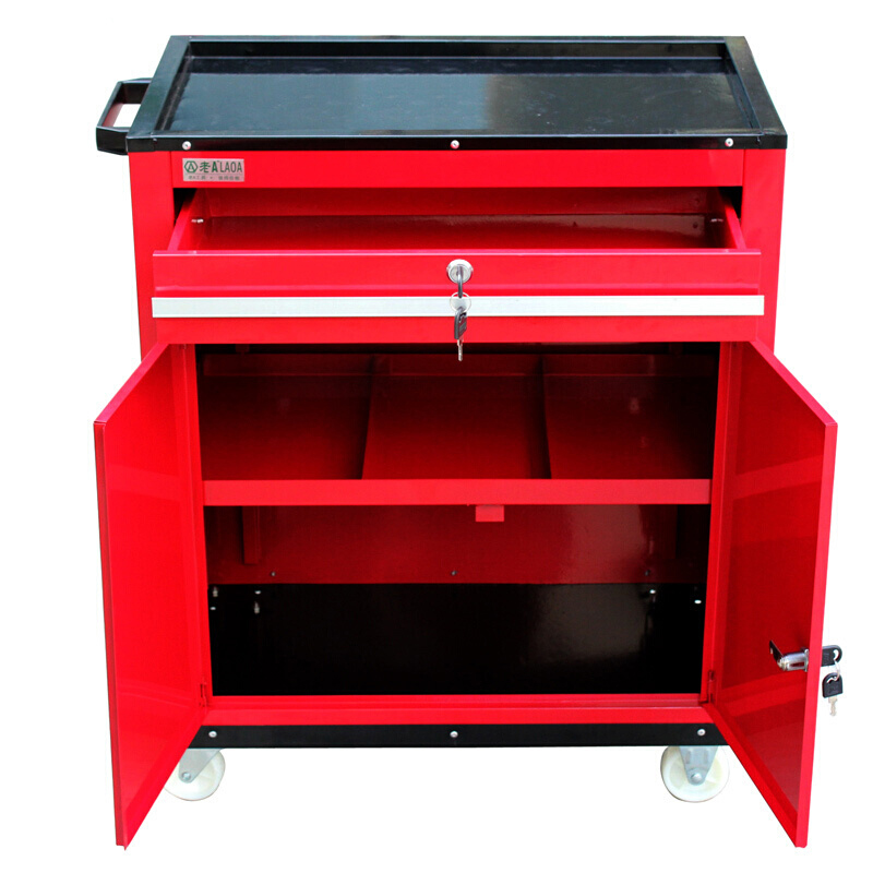 LAOA Trolley With Drawer Cabinet Maintenance Tool Cart With Lock Two Door Opening Trolley With Wheel Without Tools