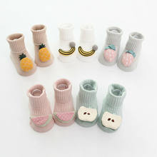 Baby Socks with Rubber Soles Hot Sale Newborn Girl Winter Clothes Infant Toddler Boy Anti Slip Shoes Warm Cartoon Cute Sock(China)