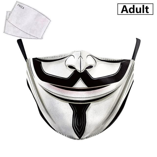 PM2.5 Face Adult Mask Children Mask Anime Print Spiderman Grimace Mask Reusable Filter Pad Pollution Activated Carbon kids Masks 2