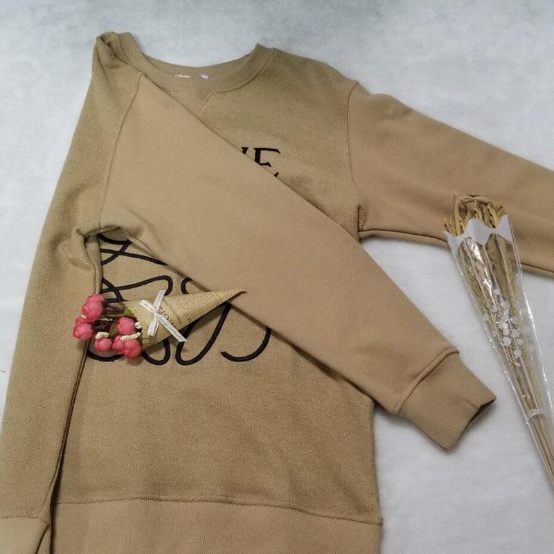Women's Sweater Korean Casual L Letter Embroidery Unisex Couple Sweatshirt Reverse Terry Knit Sweatshirt