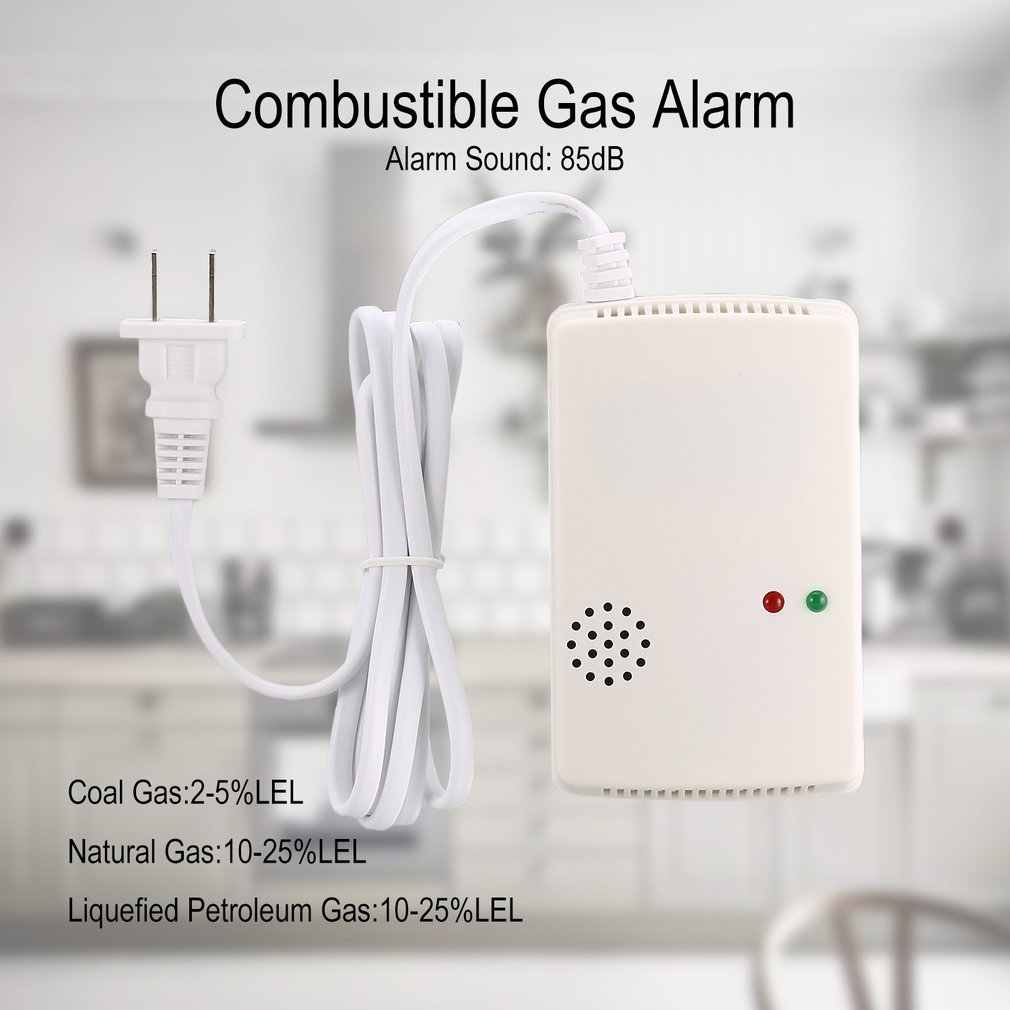 เชื้อเพลิงแก๊สนาฬิกาปลุกเครื่องตรวจจับธรรมชาติ LPG LNG เซนเซอร์เสียงคำเตือน Light Home Security Fire US Plug