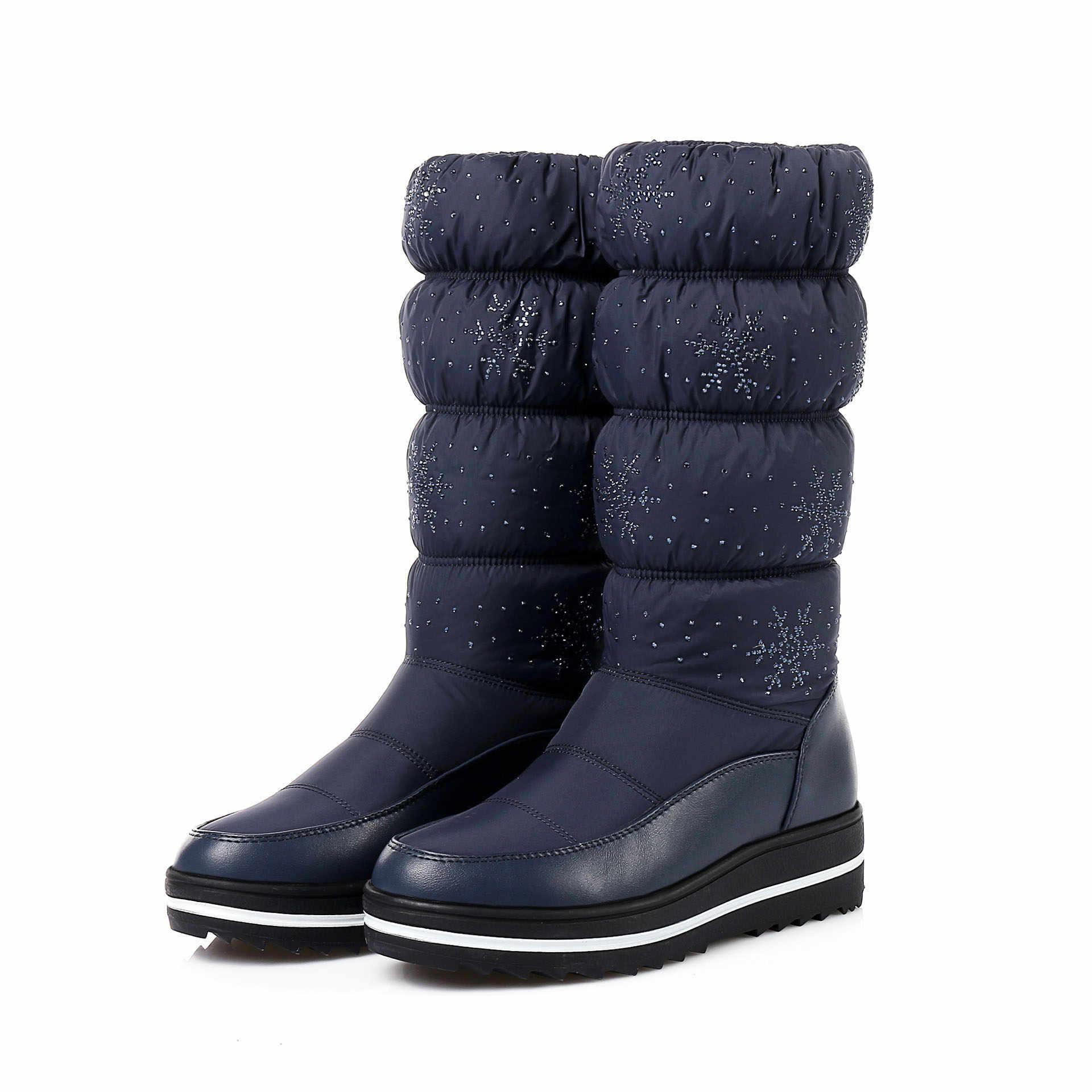 2019 Kadın Sıcak Kar Botları Kış Küçük Aşağı Kar Moda Tüp rahat ayakkabılar Kadınlar Için Diz Yüksek Çizmeler kaymaz rüzgar geçirmez HX-92