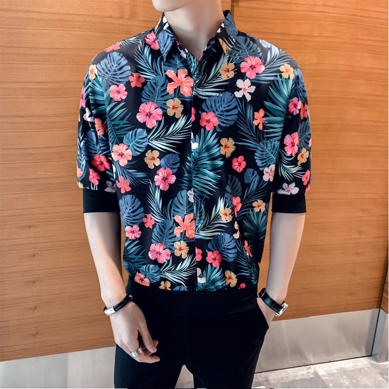 Image 2 - British Style Men Floral Shirts Brand New Summer Loose Shirt Men Half Sleeve Turn Down Collar Streetwear Blouse Homme Hot SaleCasual Shirts   -