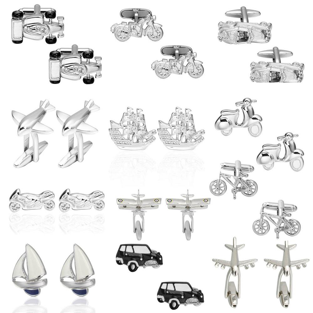 Vehicle Cufflinks For Mens Plane/Car/Bike/Bus/Boat/Motor Designs Business Brand Cufflinks Gemelos Para Hombre Camisa Cuff Links